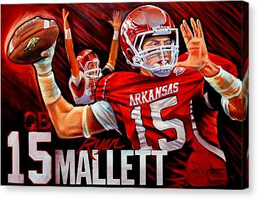 Arkansas Canvas Print - Ryan Mallett by Jim Wetherington