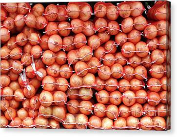 Canvas Print featuring the photograph Sacks Of Onions by Yali Shi