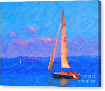 Sailing In The San Francisco Bay Canvas Print by Wingsdomain Art and Photography