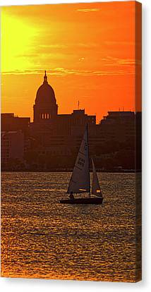 Sailing - Lake Monona - Madison - Wisconsin Canvas Print by Steven Ralser