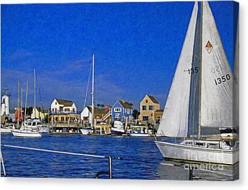 Canvas Print featuring the photograph Sailing Marina Del Rey Fisherman's Village by David Zanzinger