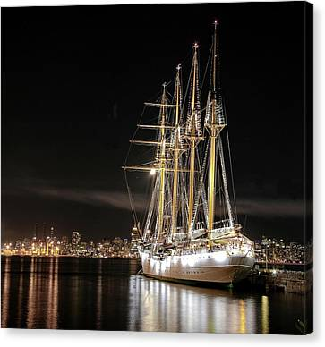 Vancouver At Night Canvas Print - Sailing Ship At The Pier by Alex Lyubar