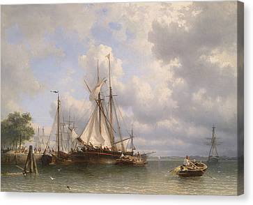 Sailing Ships In The Harbor Canvas Print by Anthonie Waldorp