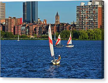 Sailing The Charles River Boston Ma Canvas Print