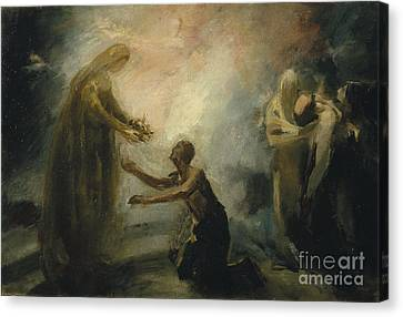 Saint Isabel Offering The Queen's Crown To A Beggar Canvas Print
