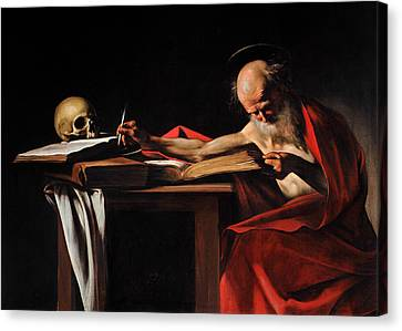 Saint Jerome Writing Canvas Print by Caravaggio