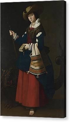 Saint Margaret Of Antioch Canvas Print by Francisco de Zurbaran