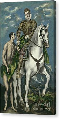 Saint Martin And The Beggar Canvas Print by El Greco