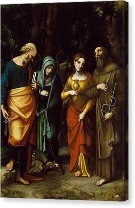 Saints Peter, Martha, Mary Magdalen, And Leonard Canvas Print by Correggio