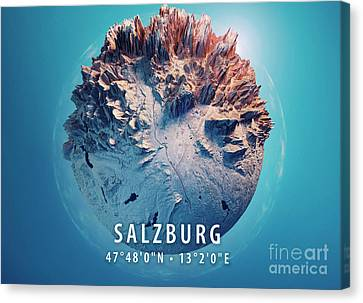 Salzburg 3d Little Planet 360-degree Sphere Panorama Blue Canvas Print by Frank Ramspott