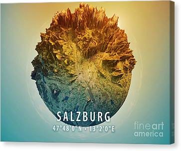 Salzburg 3d Little Planet 360-degree Sphere Panorama Canvas Print