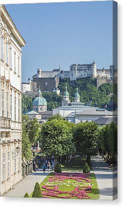 Salzburg Wonderful View To Salzburg Fortress Canvas Print by Melanie Viola