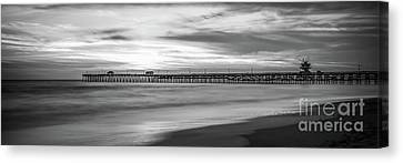 Clemente Canvas Print - San Clemente Pier Black And White Panorama Photo by Paul Velgos