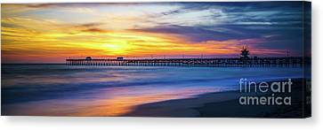 San Clemente Canvas Print - San Clemente Pier Sunset Panorama Photo by Paul Velgos
