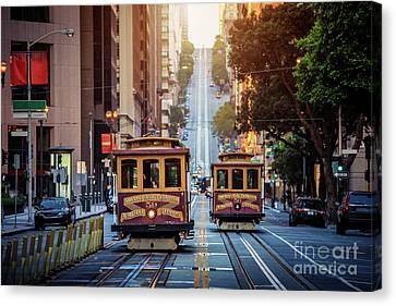 San Francisco Cable Cars Canvas Print by JR Photography