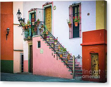 Streetlight Canvas Print - San Roque Stairs by Inge Johnsson