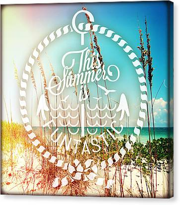 Beach Chair Canvas Print - Sanibel Sea Oats by Chris Andruskiewicz
