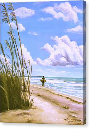 Canvas Print featuring the painting Sanibel Surfer  by Melinda Saminski