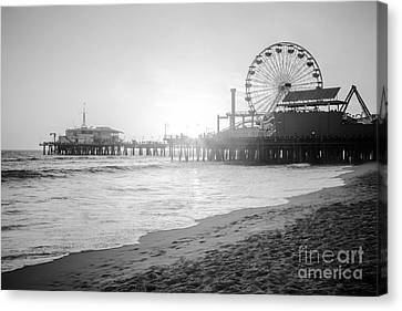 Santa Monica Pier Black And White Picture Canvas Print