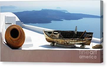 Canvas Print featuring the photograph Santorini Greece by Bob Christopher