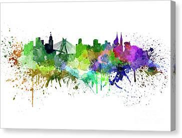 Sao Paulo Skyline In Watercolor Canvas Print by Pablo Romero