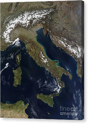 Satellite View Of Italy Canvas Print