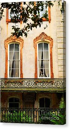 Antique Ironwork Canvas Print - Savannah Historic District by Linda Covino