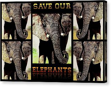 Threat Canvas Print - Save  Our  Elephants by Hartmut Jager