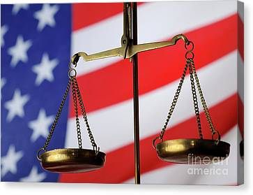 Scales Of Justice And American Flag Canvas Print by Sami Sarkis