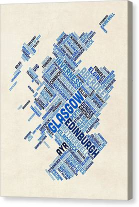 Scotland Typography Text Map Canvas Print by Michael Tompsett