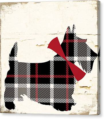 Christmas Dog Canvas Print - Scottish Terrier Tartan Plaid by Mindy Sommers