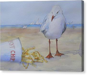 Seagull And Hot Chips Canvas Print by Tony Northover