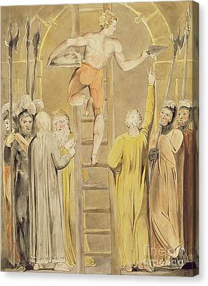 Sealing The Stone And Setting A Watch Canvas Print by William Blake