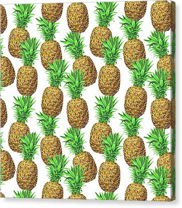 Snack Canvas Print - Seamless Pattern With Pineapples by Katerina Kirilova