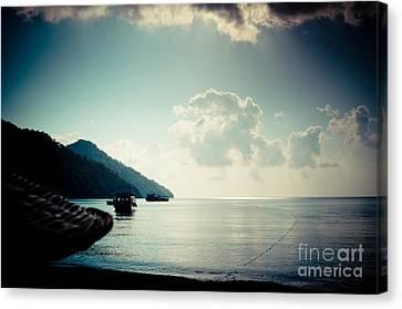 Mountain Canvas Print - Seascape Sunrise Sea And Clouds  by Raimond Klavins