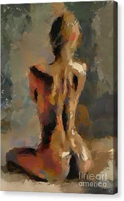 Nude Canvas Print - Seated Nude by Dragica Micki Fortuna