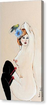 Seated Nude In Black Stockings With Flower And Bird Canvas Print by Susan Adams