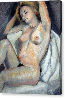 Seated Nude Canvas Print by Synnove Pettersen