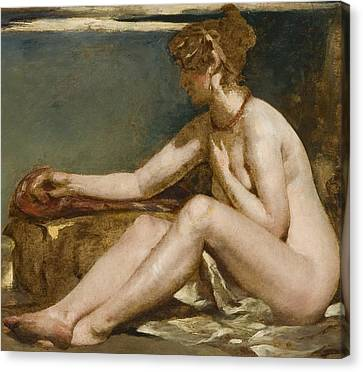 Seated Nude Canvas Print by William Etty