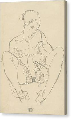 Expressionist Canvas Print - Seated Woman In Chemise by Egon Schiele