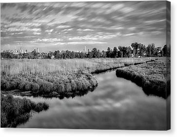 Canvas Print featuring the photograph Secaucus Greenway Trail Nj Bw by Susan Candelario