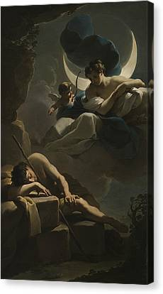 Selene And Endymion Canvas Print by Ubaldo Gandolfi