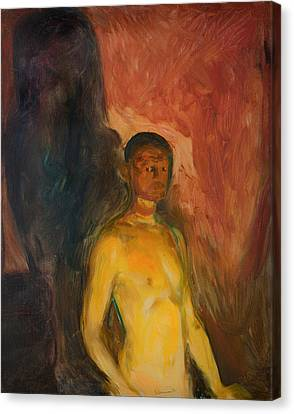 Self Portrait In Hell Canvas Print by Mountain Dreams