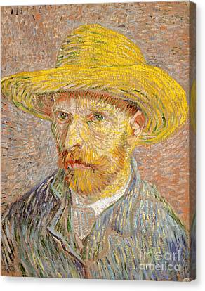 Self-portrait With A Straw Hat Canvas Print