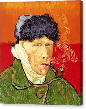 Self Portrait With Bandaged Ear And Pipe Canvas Print by Vincent van Gogh