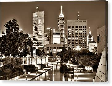 Sepia Indianapolis Skyline Cityscape - Indiana - Usa  Canvas Print by Gregory Ballos