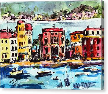 Sestri Levante Italy Bay Of Silence Canvas Print by Ginette Callaway