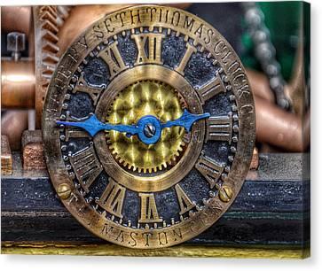 Antique Ironwork Canvas Print - Seth Thomas 1911 Clock Mechanism In Bromo Seltzer Tower Baltimore by Marianna Mills