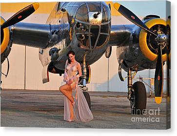Sexy 1940s Pin-up Girl In Lingerie Canvas Print