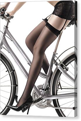 Sexy Woman Riding A Bike Canvas Print by Oleksiy Maksymenko